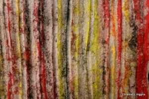 Tapestry, cast paper fibers